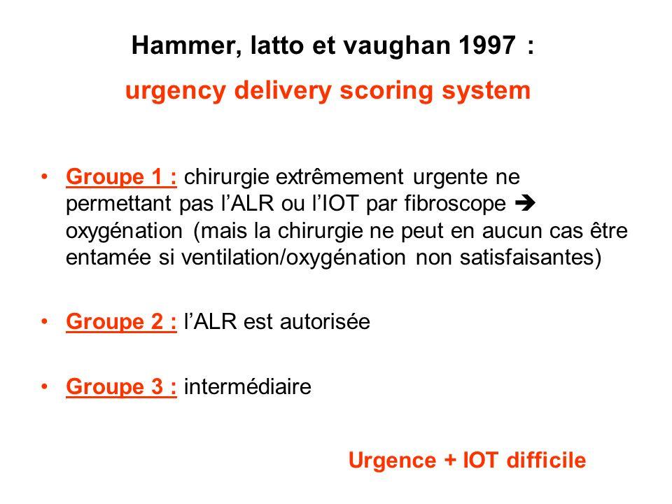 Hammer, latto et vaughan 1997 : urgency delivery scoring system Groupe 1 : chirurgie extrêmement urgente ne permettant pas lALR ou lIOT par fibroscope