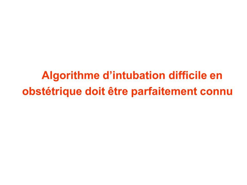 Algorithme dintubation difficile en obstétrique doit être parfaitement connu