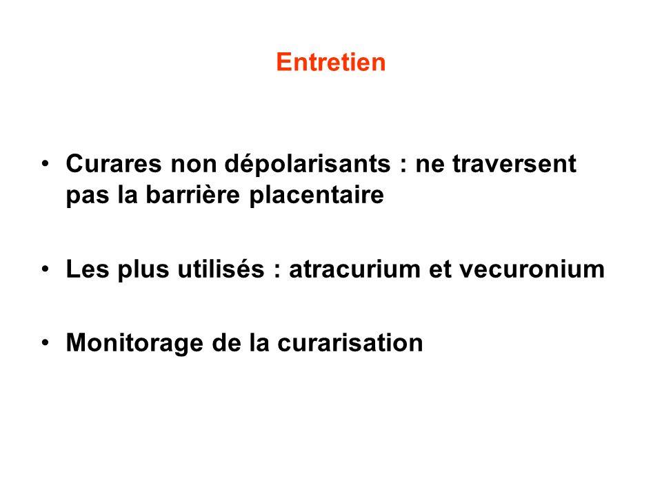 Entretien Curares non dépolarisants : ne traversent pas la barrière placentaire Les plus utilisés : atracurium et vecuronium Monitorage de la curarisa