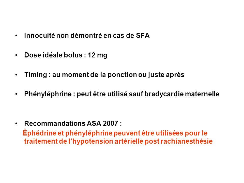 Innocuité non démontré en cas de SFA Dose idéale bolus : 12 mg Timing : au moment de la ponction ou juste après Phényléphrine : peut être utilisé sauf