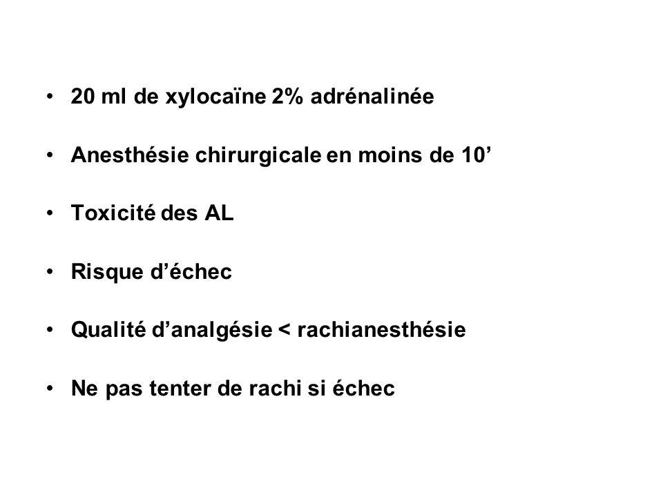 20 ml de xylocaïne 2% adrénalinée Anesthésie chirurgicale en moins de 10 Toxicité des AL Risque déchec Qualité danalgésie < rachianesthésie Ne pas ten