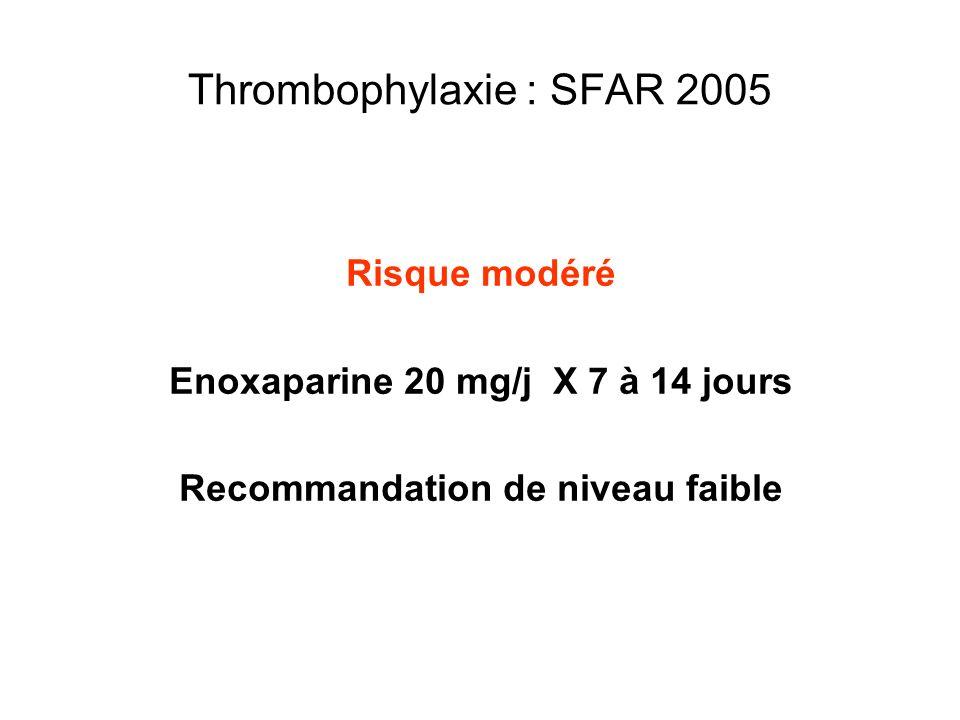 Thrombophylaxie : SFAR 2005 Risque modéré Enoxaparine 20 mg/j X 7 à 14 jours Recommandation de niveau faible