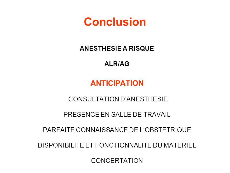Conclusion ANESTHESIE A RISQUE ALR/AG ANTICIPATION CONSULTATION DANESTHESIE PRESENCE EN SALLE DE TRAVAIL PARFAITE CONNAISSANCE DE LOBSTETRIQUE DISPONI