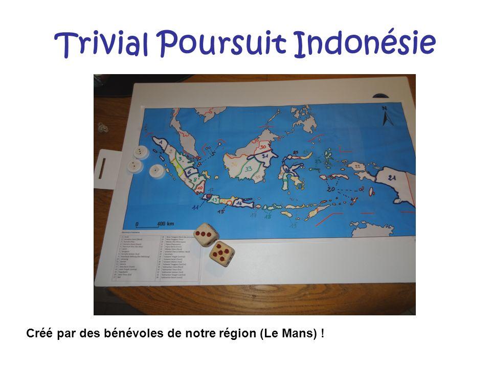 Trivial Poursuit Indonésie Créé par des bénévoles de notre région (Le Mans) !