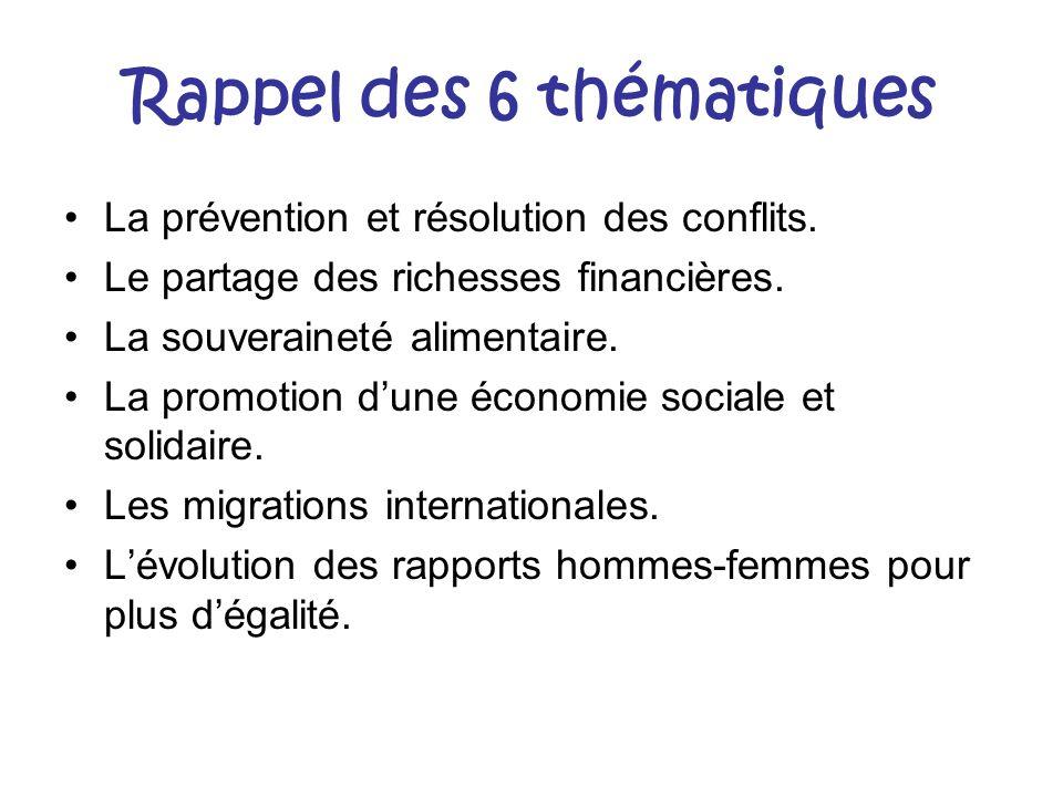 Rappel des 6 thématiques La prévention et résolution des conflits. Le partage des richesses financières. La souveraineté alimentaire. La promotion dun