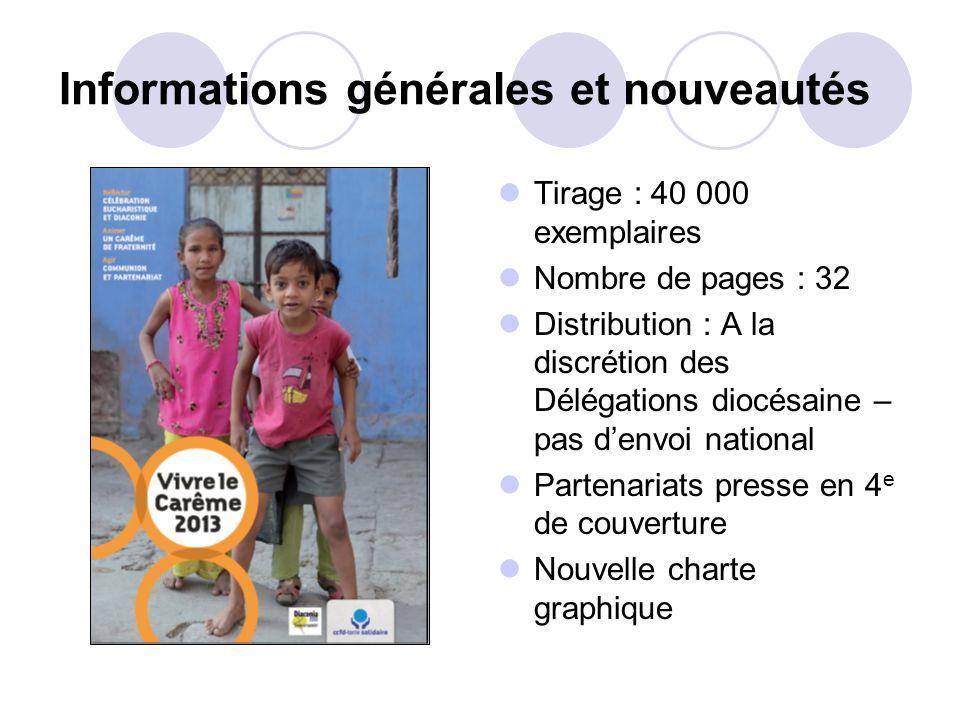 Informations générales et nouveautés Tirage : 40 000 exemplaires Nombre de pages : 32 Distribution : A la discrétion des Délégations diocésaine – pas