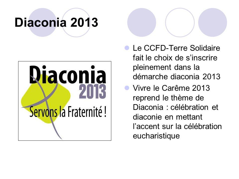 Diaconia 2013 Le CCFD-Terre Solidaire fait le choix de sinscrire pleinement dans la démarche diaconia 2013 Vivre le Carême 2013 reprend le thème de Di