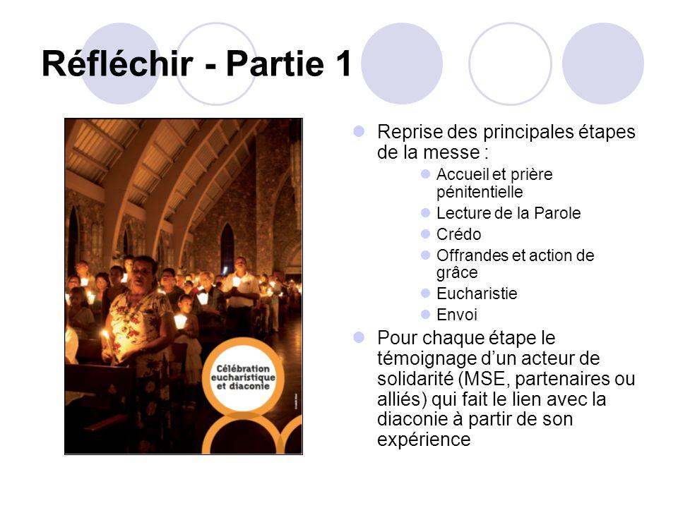 Réfléchir - Partie 1 Reprise des principales étapes de la messe : Accueil et prière pénitentielle Lecture de la Parole Crédo Offrandes et action de gr