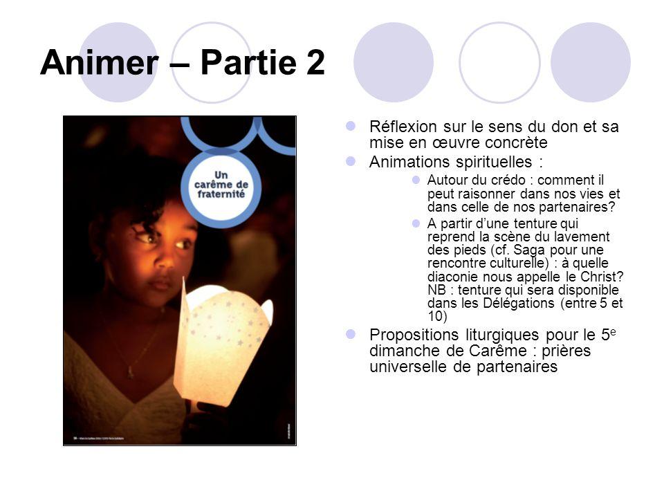 Animer – Partie 2 Réflexion sur le sens du don et sa mise en œuvre concrète Animations spirituelles : Autour du crédo : comment il peut raisonner dans