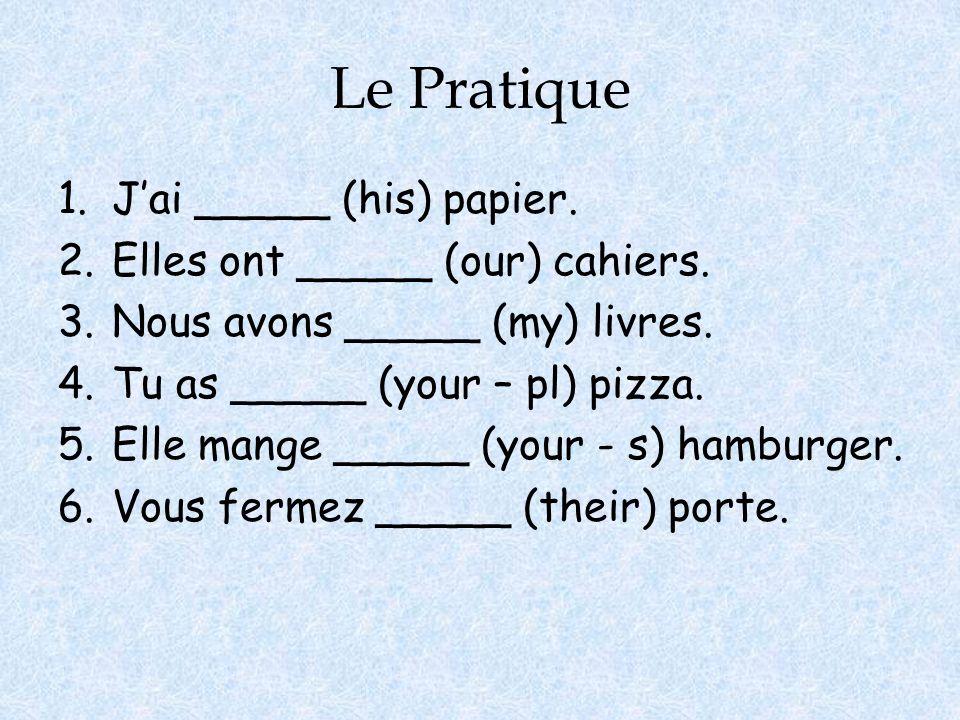 Le Pratique 1.Jai _____ (his) papier. 2.Elles ont _____ (our) cahiers. 3.Nous avons _____ (my) livres. 4.Tu as _____ (your – pl) pizza. 5.Elle mange _
