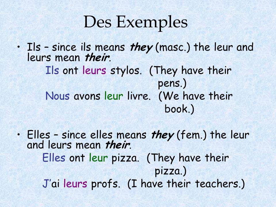 Des Exemples Ils – since ils means they (masc.) the leur and leurs mean their. Ils ont leurs stylos. (They have their pens.) Nous avons leur livre. (W