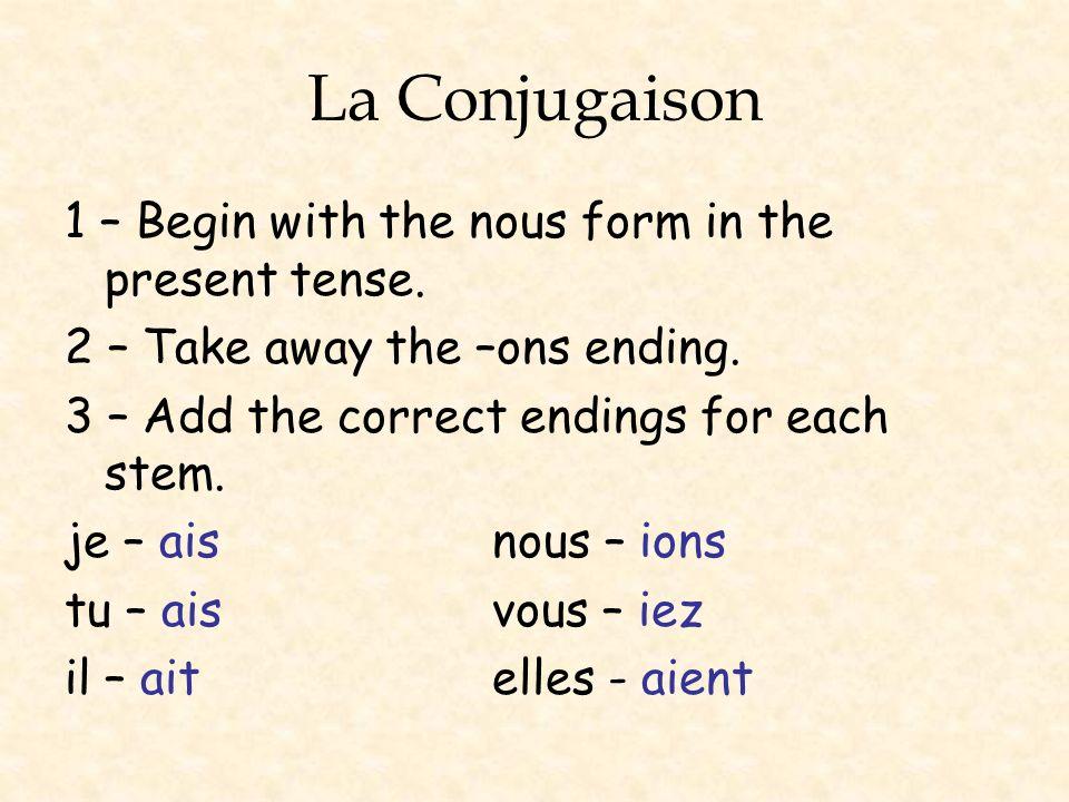 La Conjugaison 1 – allons 2 – all- 3 – jallaisnous allions tu allaisvous alliez il allaitelles allaient
