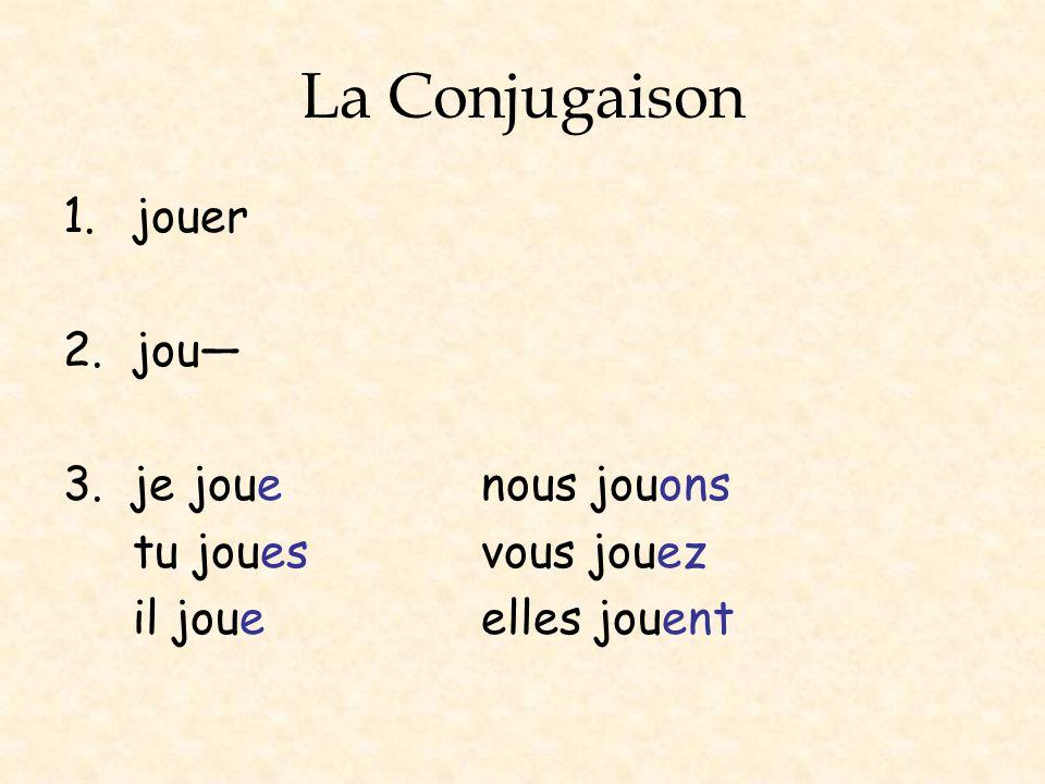 La Conjugaison 1.jouer 2.jou 3. je jouenous jouons tu jouesvous jouez il joueelles jouent