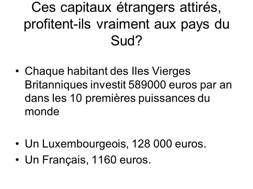 Ces capitaux étrangers attirés, profitent-ils vraiment aux pays du Sud.