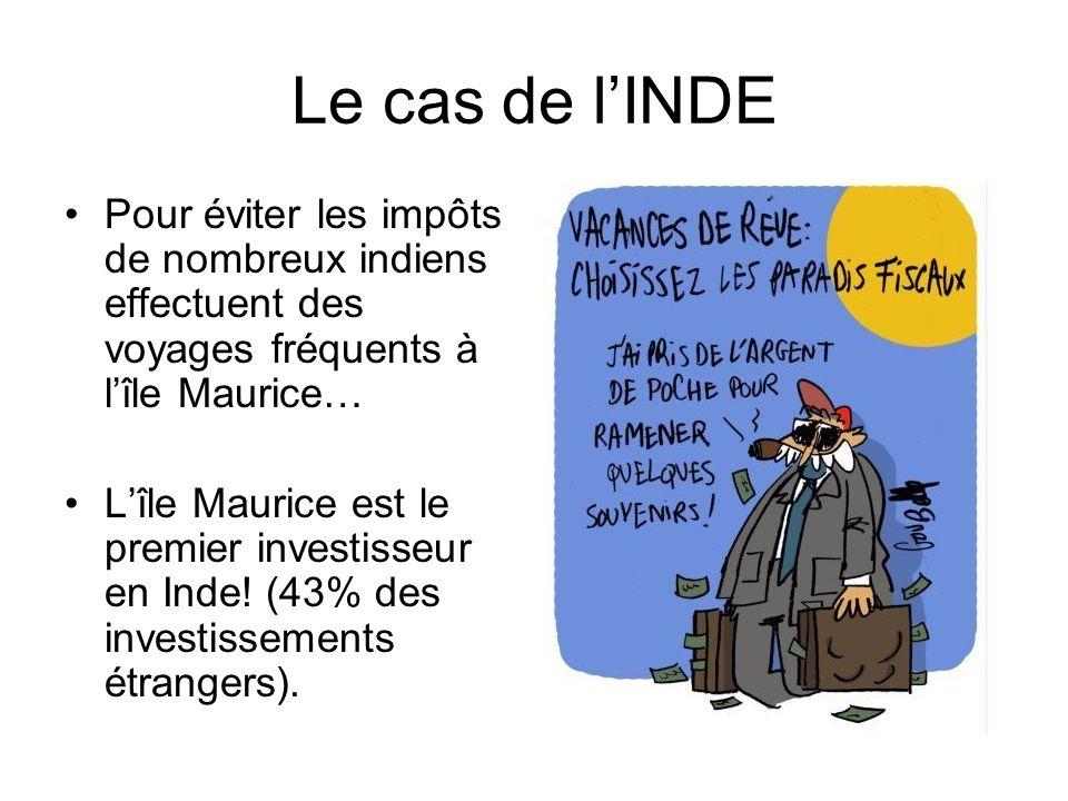 Le cas de lINDE Pour éviter les impôts de nombreux indiens effectuent des voyages fréquents à lîle Maurice… Lîle Maurice est le premier investisseur en Inde.