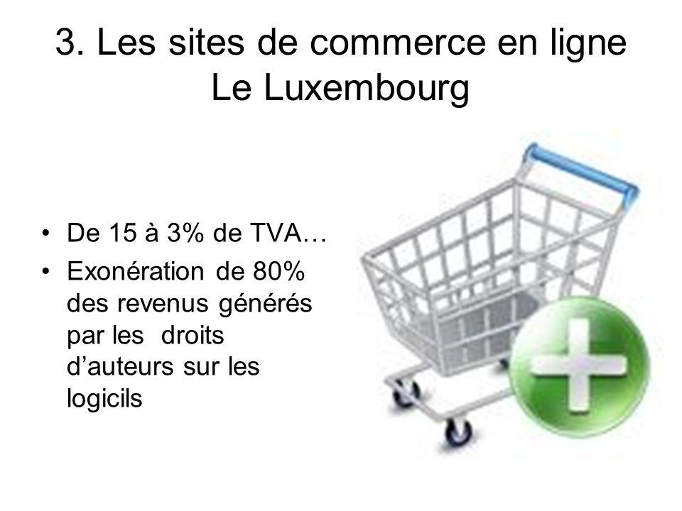 3. Les sites de commerce en ligne Le Luxembourg De 15 à 3% de TVA… Exonération de 80% des revenus générés par les droits dauteurs sur les logicils