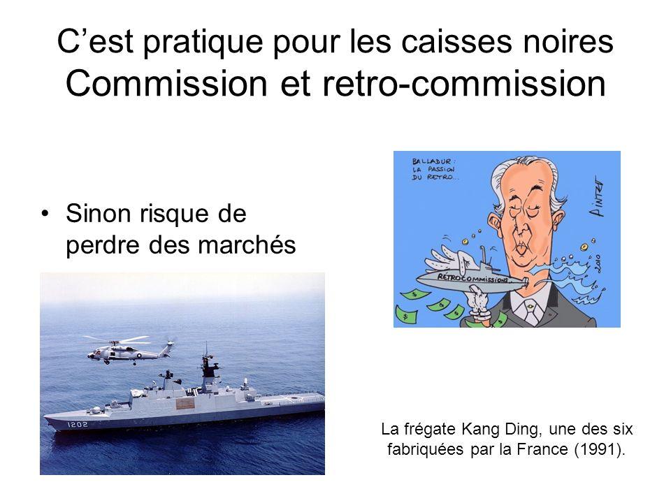 Cest pratique pour les caisses noires Commission et retro-commission Sinon risque de perdre des marchés La frégate Kang Ding, une des six fabriquées par la France (1991).