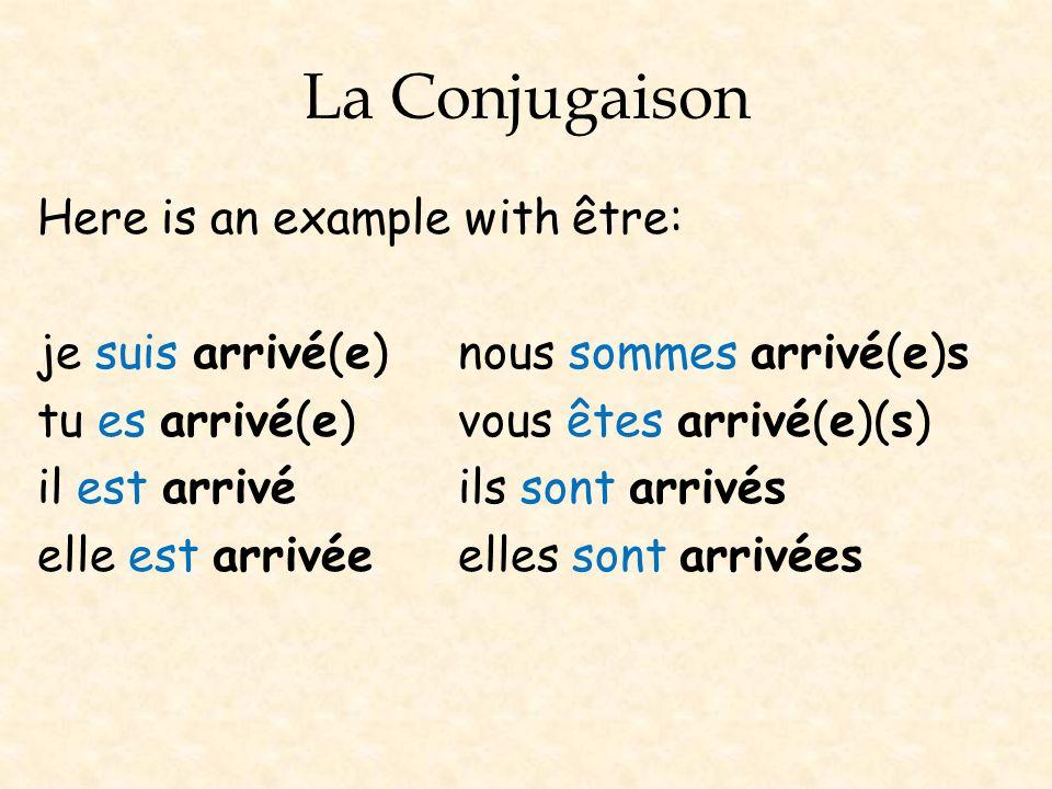 La Conjugaison Here is an example with être: je suis arrivé(e)nous sommes arrivé(e)s tu es arrivé(e) vous êtes arrivé(e)(s) il est arrivé ils sont arr