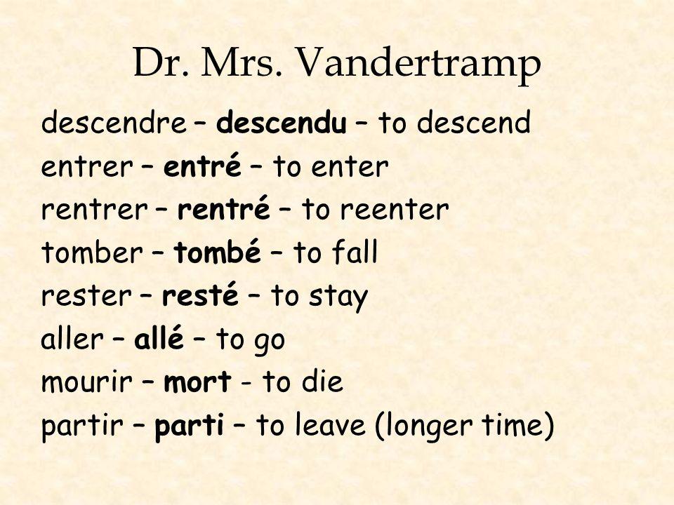 Dr. Mrs. Vandertramp descendre – descendu – to descend entrer – entré – to enter rentrer – rentré – to reenter tomber – tombé – to fall rester – resté