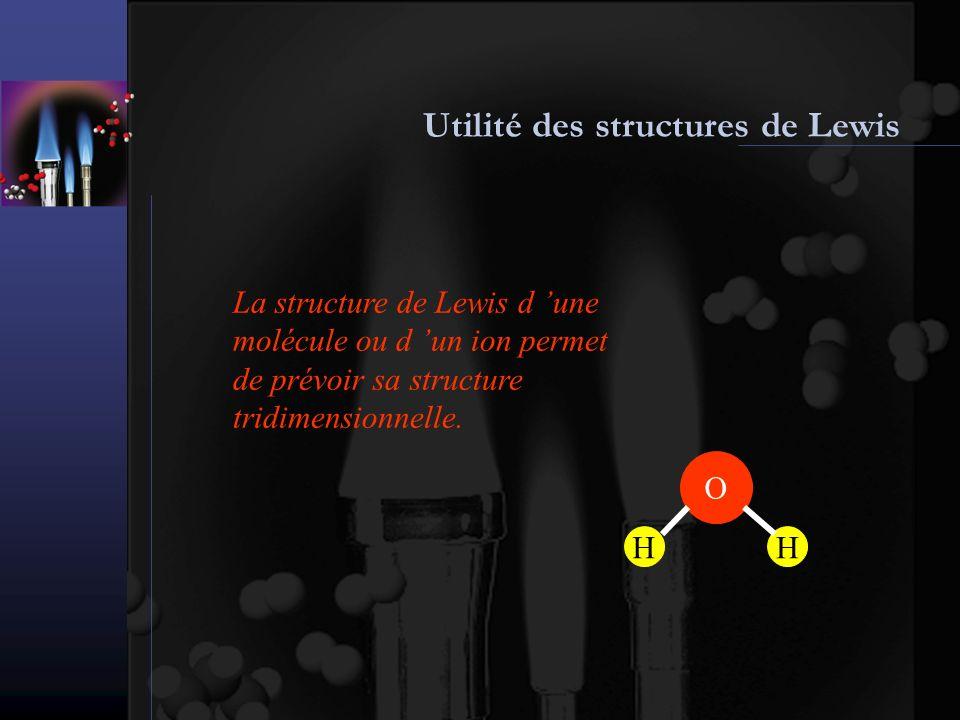 Élaboration des structures de Lewis : étape 1 Pour écrire une structure de Lewis on doit premièrement déterminer l arrangement des atomes Dans les molécules ou ions simples, l atome central est celui présent en plus petit nombre et son symbole apparaît souvent en premier dans la formule L atome H est toujours terminal SO 2 SOO N2H4N2H4 N NO 3 - N O O O N HH HH N 2 O et N 2 S sont des exceptions N2ON2ONNO H2SH2SSHH