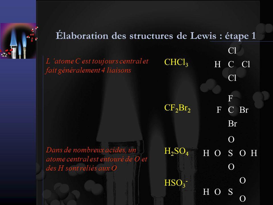 Élaboration des structures de Lewis : étape 2 Pour écrire une structure de Lewis on doit calculer le nombre d électrons externes à répartir dans la molécule ou l ion On trouve le nombre d électrons externes pour chaque atome en étudiant sa structure électronique On additionne les nombres d électrons externes de chacun des atomes SO 2 S ( K ) 2 ( L ) 8 ( M ) 6 6 électrons externes Dans le cas d un ion on doit soustraire sa charge 1 S 1 x 6 = 6 e- 2 O 2 x 6 = 12 e- Total 6 + 12 = 18 e- 18 / 2 = 9 doublets NO 3 - Total 5 + 18 - (-1) = 24 e- 12 doublets