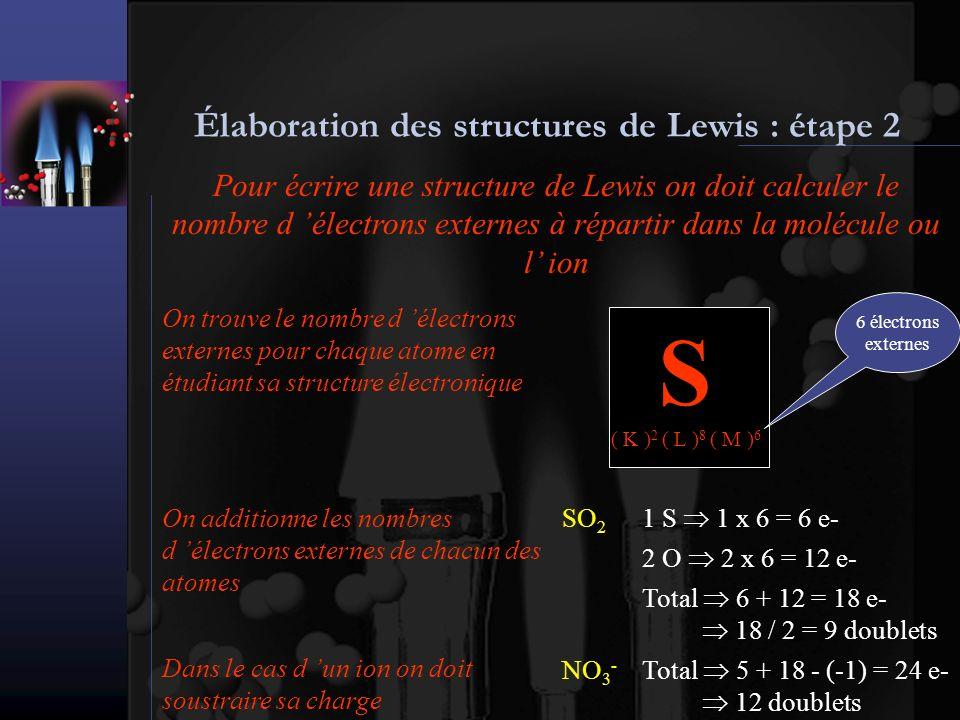 Élaboration des structures de Lewis : étape 3 Pour écrire une structure de Lewis on doit placer des doublets de liaison pour relier les atomes entre eux SO 2 9 doublets SOO NO 3 - 12 doublets N O O O H 2 S 4 doublets SHH