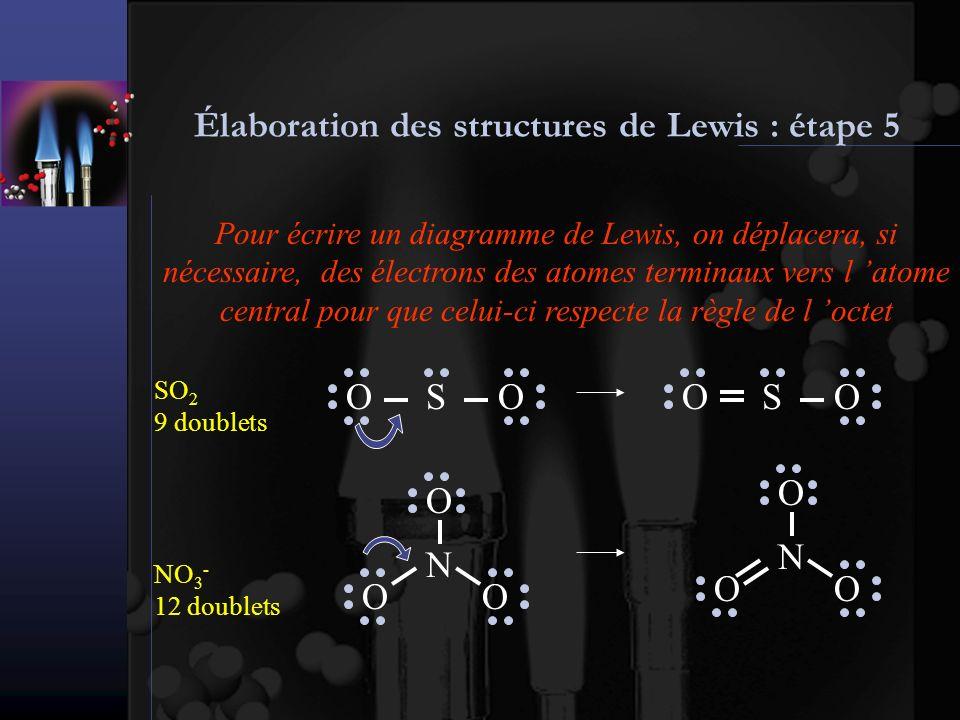 Élaboration des structures de Lewis : étape 5 Pour écrire un diagramme de Lewis, on déplacera, si nécessaire, des électrons des atomes terminaux vers