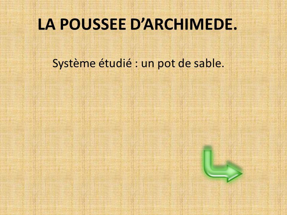 LA POUSSEE DARCHIMEDE. Système étudié : un pot de sable.