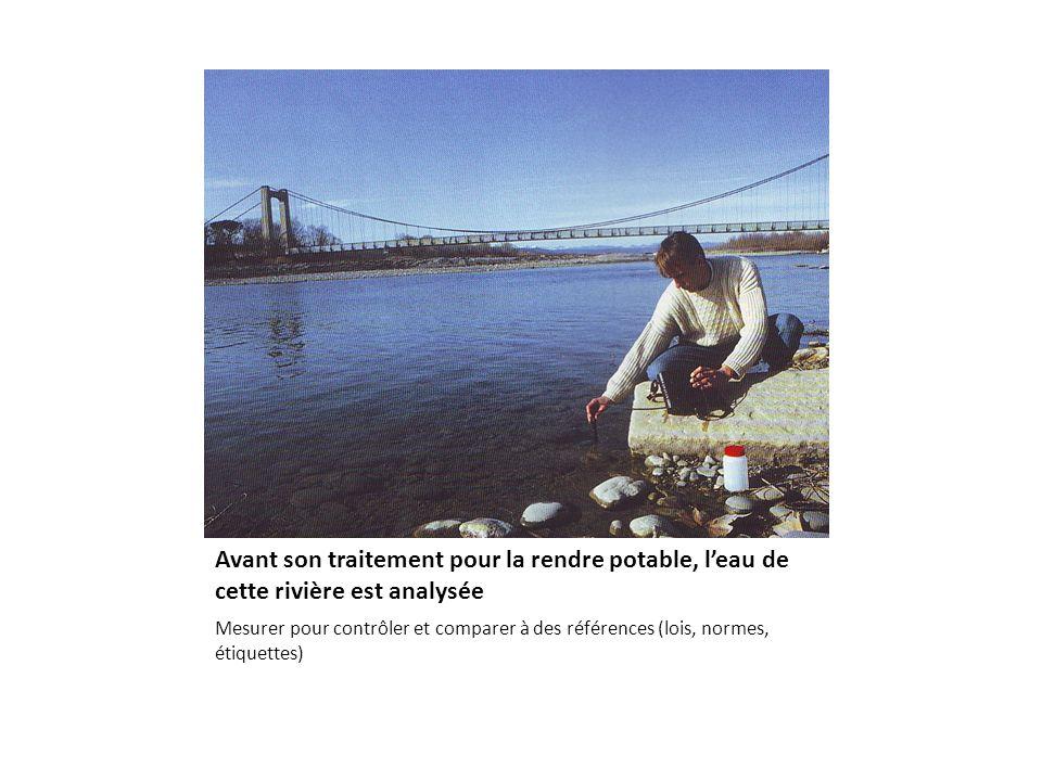Avant son traitement pour la rendre potable, leau de cette rivière est analysée Mesurer pour contrôler et comparer à des références (lois, normes, étiquettes)
