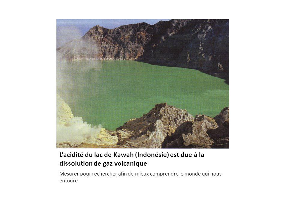 Lacidité du lac de Kawah (Indonésie) est due à la dissolution de gaz volcanique Mesurer pour rechercher afin de mieux comprendre le monde qui nous entoure