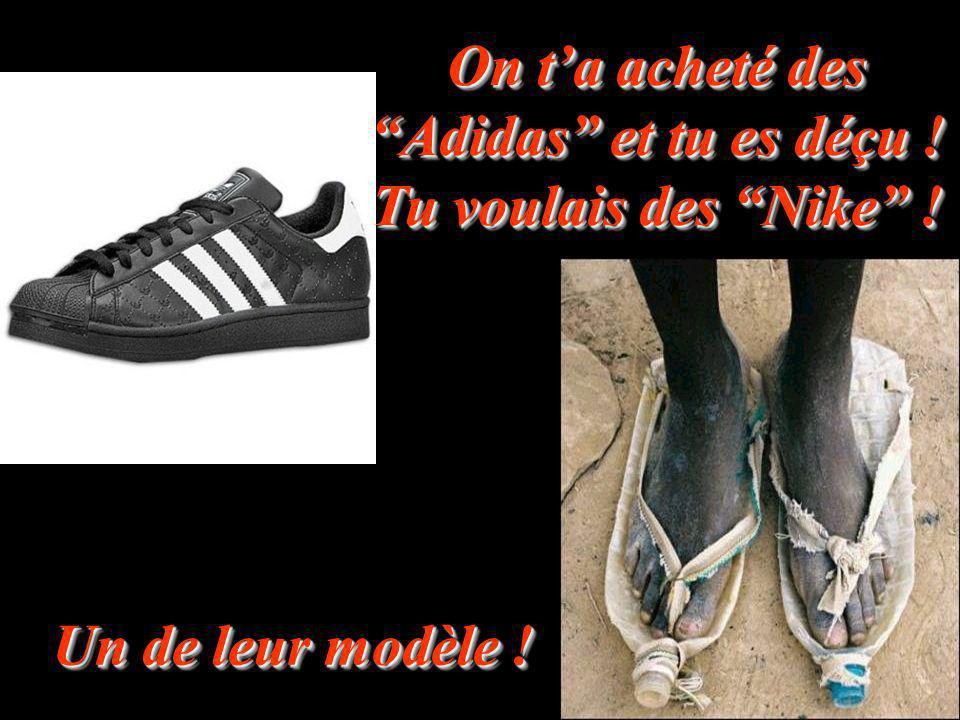 On ta acheté des Adidas et tu es déçu ! Tu voulais des Nike ! Un de leur modèle !