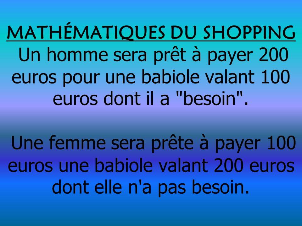 MATHÉMATIQUES DU SHOPPING Un homme sera prêt à payer 200 euros pour une babiole valant 100 euros dont il a