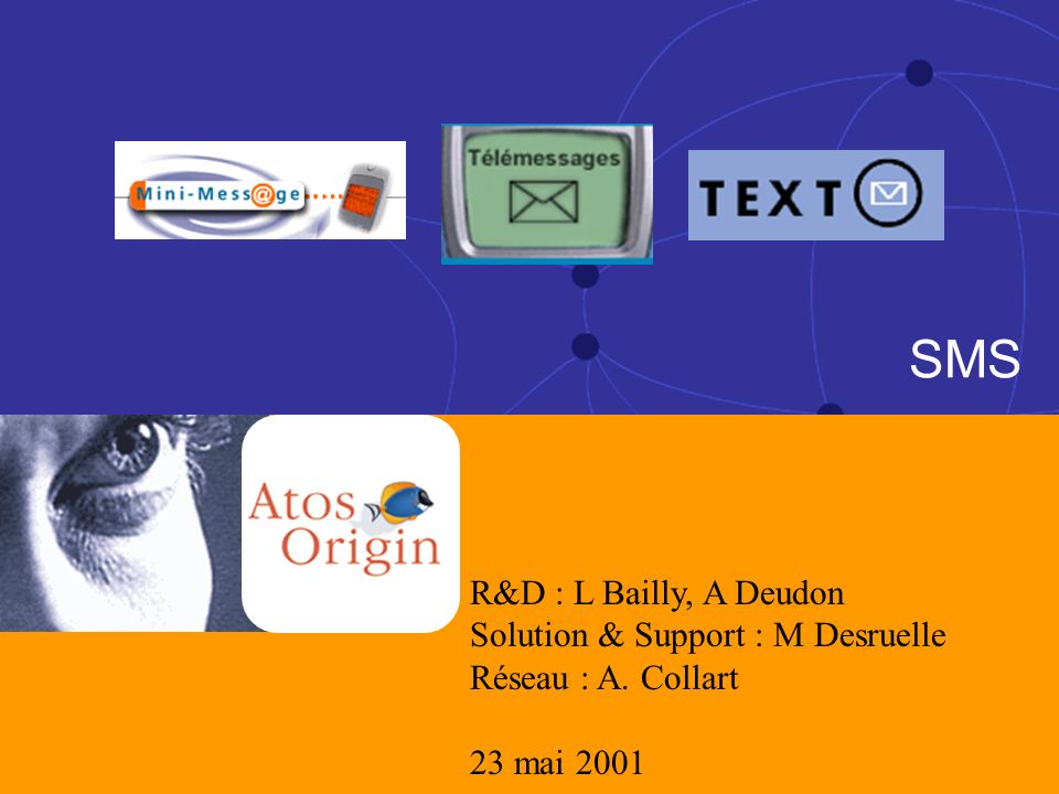 1 1 23 Mai 2001 SMS R&D : L Bailly, A Deudon Solution & Support : M Desruelle Réseau : A. Collart 23 mai 2001