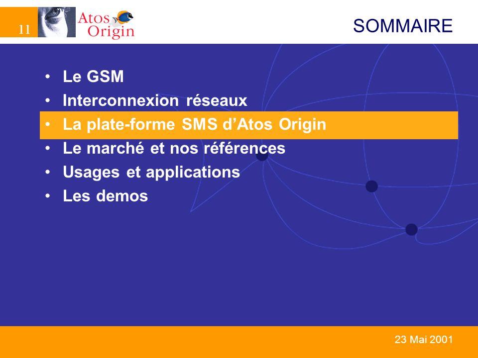 11 23 Mai 2001 SOMMAIRE Le GSM Interconnexion réseaux La plate-forme SMS dAtos Origin Le marché et nos références Usages et applications Les demos