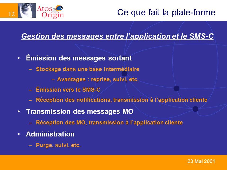 12 23 Mai 2001 Ce que fait la plate-forme Gestion des messages entre lapplication et le SMS-C Émission des messages sortant –Stockage dans une base in