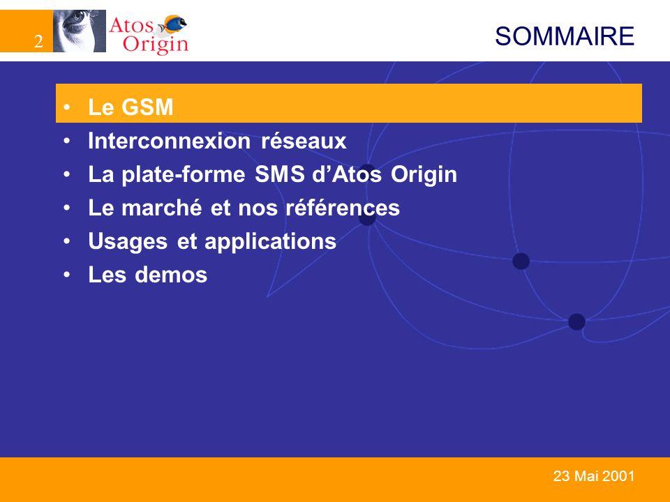 23 23 Mai 2001 SOMMAIRE Le GSM Interconnexion réseaux La plate-forme SMS dAtos Origin Le marché et nos références Usages et applications Les demos