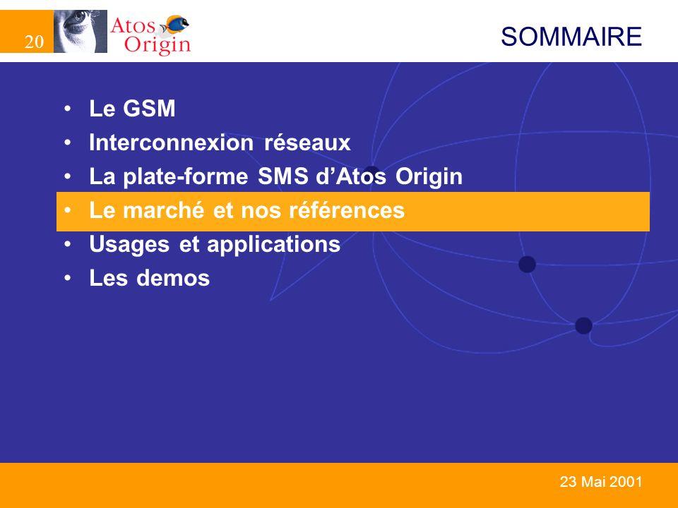 20 23 Mai 2001 SOMMAIRE Le GSM Interconnexion réseaux La plate-forme SMS dAtos Origin Le marché et nos références Usages et applications Les demos