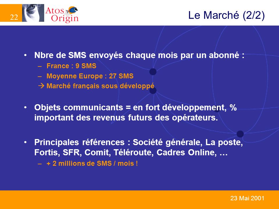 22 23 Mai 2001 Le Marché (2/2) Nbre de SMS envoyés chaque mois par un abonné : –France : 9 SMS –Moyenne Europe : 27 SMS Marché français sous développé