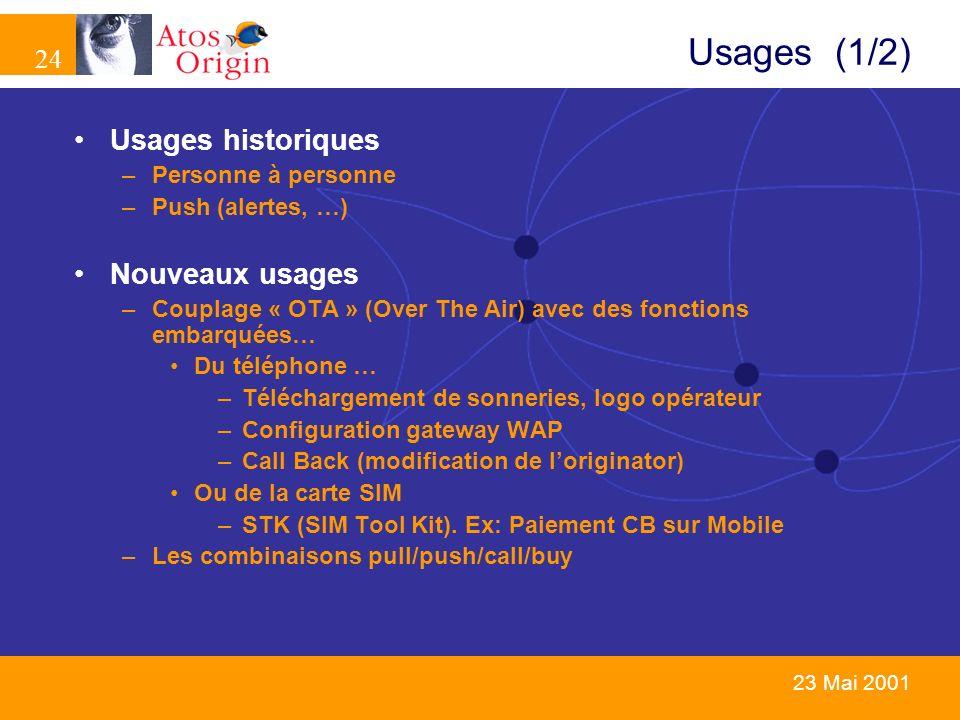 24 23 Mai 2001 Usages (1/2) Usages historiques –Personne à personne –Push (alertes, …) Nouveaux usages –Couplage « OTA » (Over The Air) avec des fonct