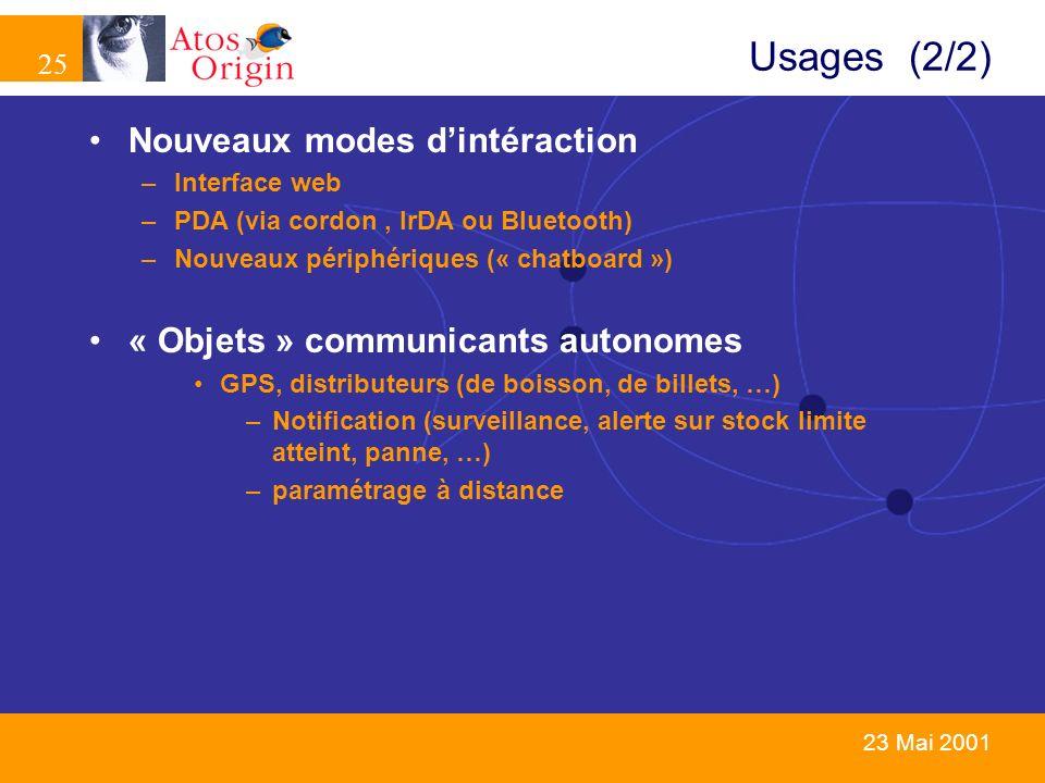 25 23 Mai 2001 Usages (2/2) Nouveaux modes dintéraction –Interface web –PDA (via cordon, IrDA ou Bluetooth) –Nouveaux périphériques (« chatboard ») «