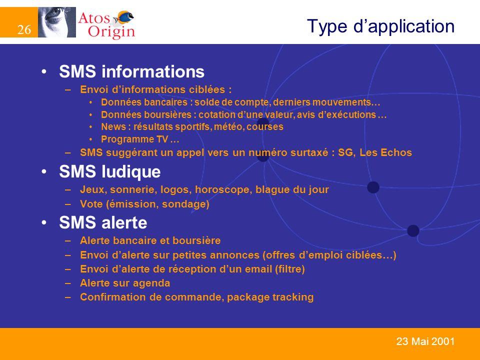 26 23 Mai 2001 Type dapplication SMS informations –Envoi dinformations ciblées : Données bancaires : solde de compte, derniers mouvements… Données bou