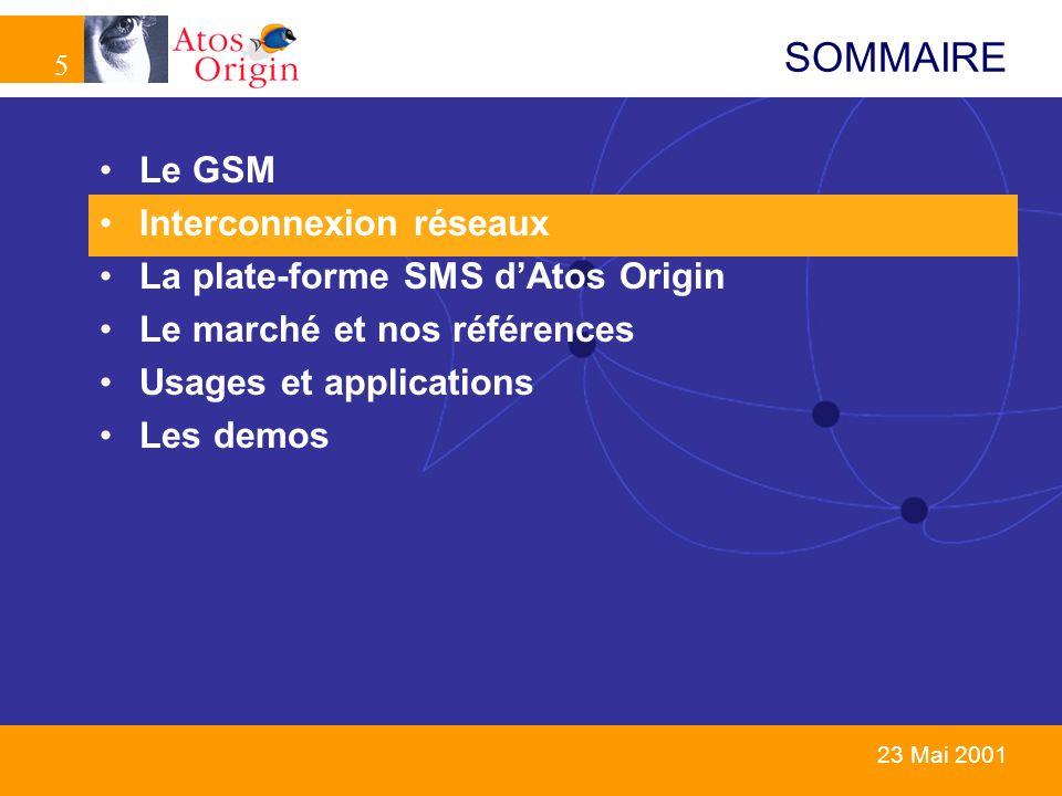 5 5 23 Mai 2001 SOMMAIRE Le GSM Interconnexion réseaux La plate-forme SMS dAtos Origin Le marché et nos références Usages et applications Les demos