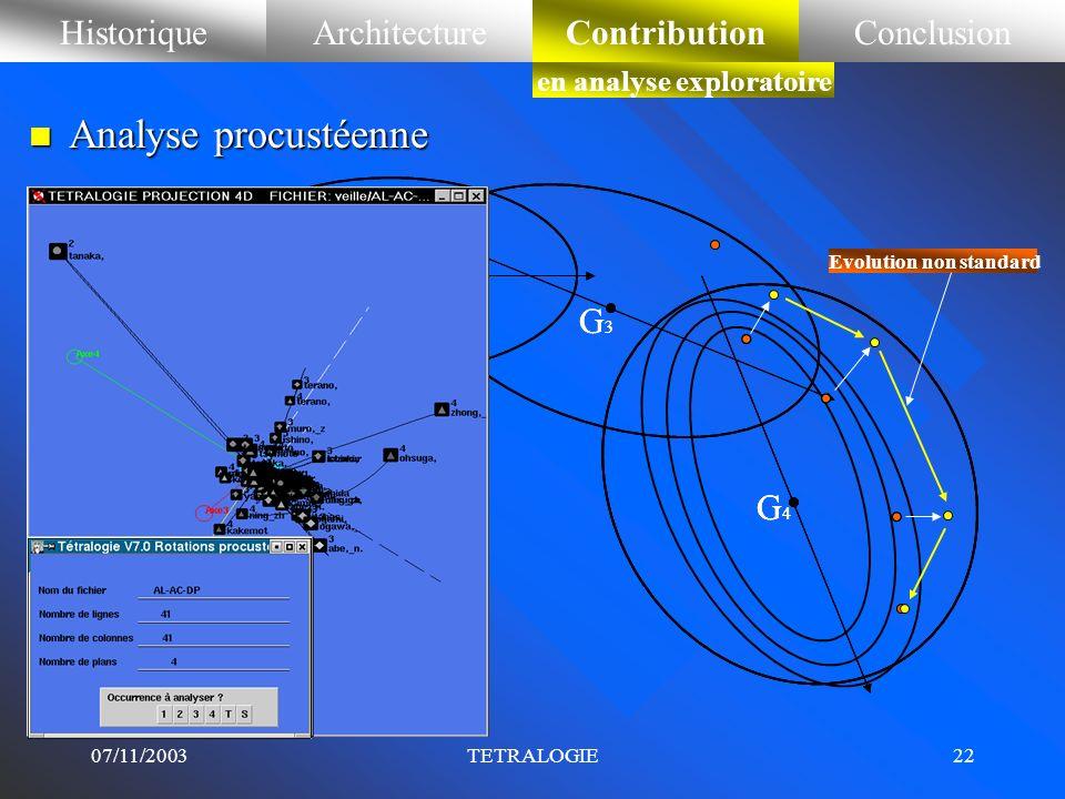 07/11/2003TETRALOGIE21 HistoriqueArchitectureContributionConclusionContribution en analyse exploratoire n Analyse procustéenne (de Procuste ou Procrus