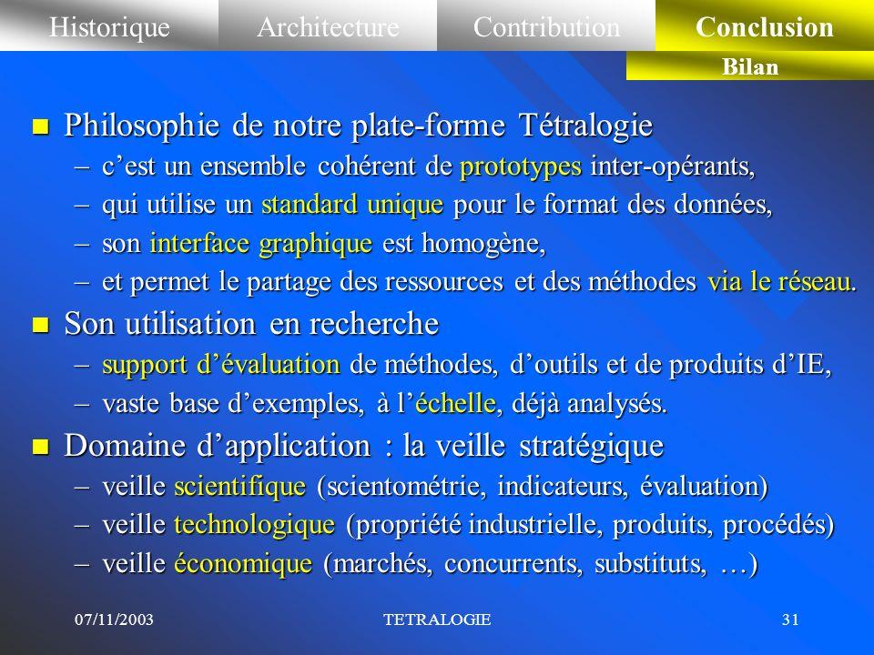 07/11/2003TETRALOGIE30 HistoriqueArchitectureContributionConclusionContribution en visualisation Graphe partitionné Graphe des classes n Partitionneme