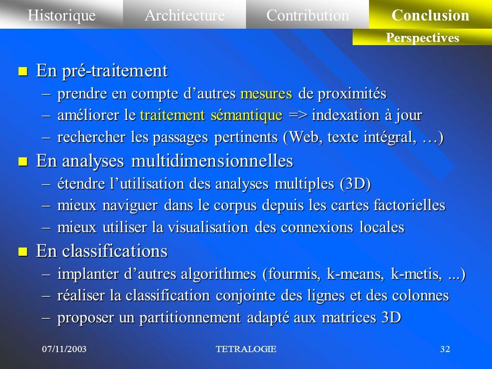 07/11/2003TETRALOGIE31 HistoriqueArchitectureContributionConclusion Bilan n Philosophie de notre plate-forme Tétralogie –cest un ensemble cohérent de