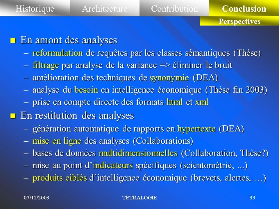 07/11/2003TETRALOGIE32 HistoriqueArchitectureContributionConclusion Perspectives n En pré-traitement –prendre en compte dautres mesures de proximités