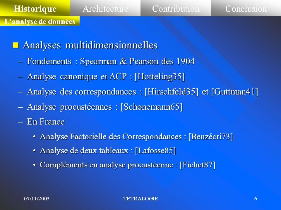 07/11/2003TETRALOGIE5 n Le processus de veille stratégique comporte cinq phases : –la sélection des données utiles : terminologie, dates, acteurs (aut