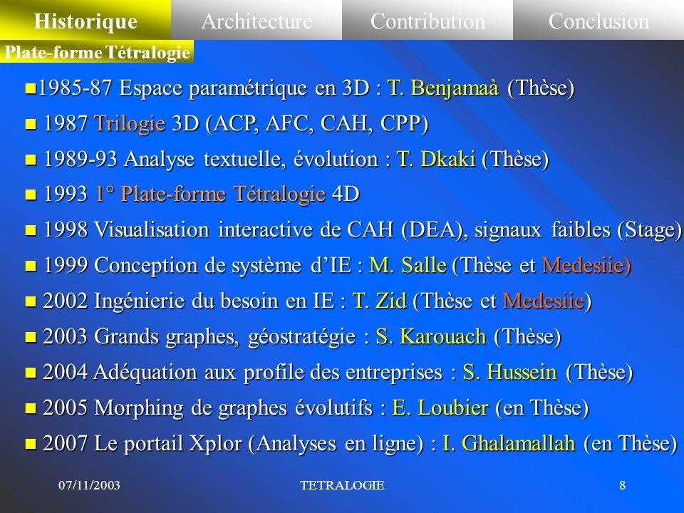07/11/2003TETRALOGIE7 n Classifications –Taxonomie par CAH [Sokal63] –Centres mobiles [Forgy65] –Nuées dynamiques [Diday71] –Partitionnements Itératif