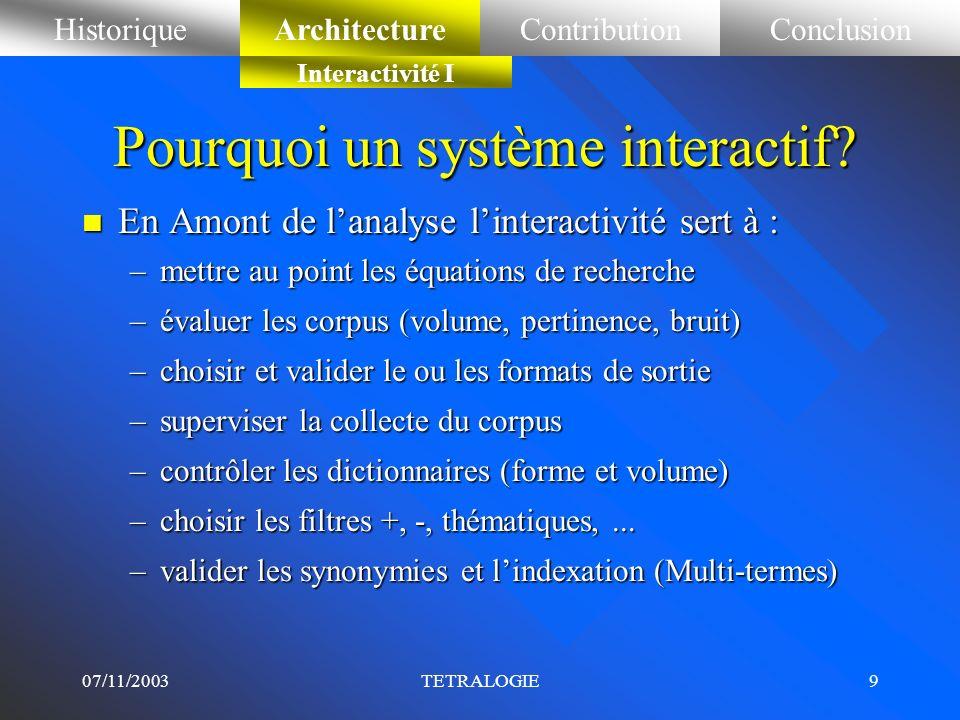 07/11/2003TETRALOGIE8 n 1985-87 Espace paramétrique en 3D : T. Benjamaà (Thèse) n 1987 Trilogie 3D (ACP, AFC, CAH, CPP) n 1989-93 Analyse textuelle, é