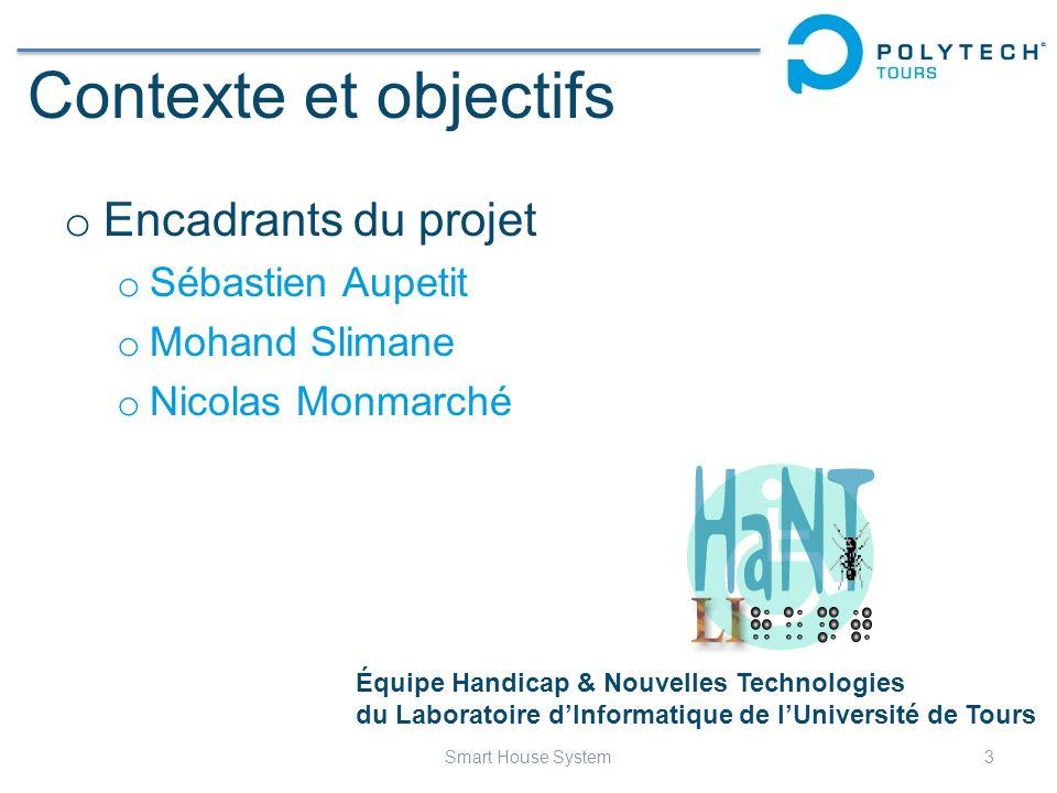 Contexte et objectifs o Encadrants du projet o Sébastien Aupetit o Mohand Slimane o Nicolas Monmarché 3Smart House System Équipe Handicap & Nouvelles